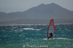 Windsurfing in Los Barriles, with my buddy Jorge. 